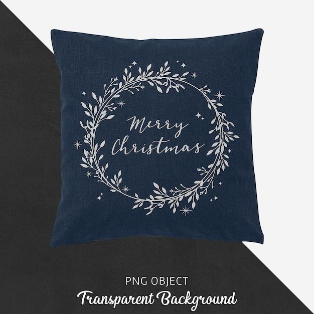 Vista frontal da maquete de travesseiro de natal azul marinho Psd Premium