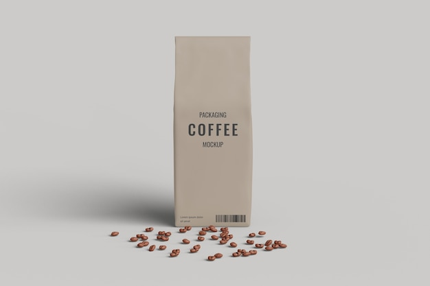 Vista frontal da maquete do saco de café com grãos de café Psd Premium