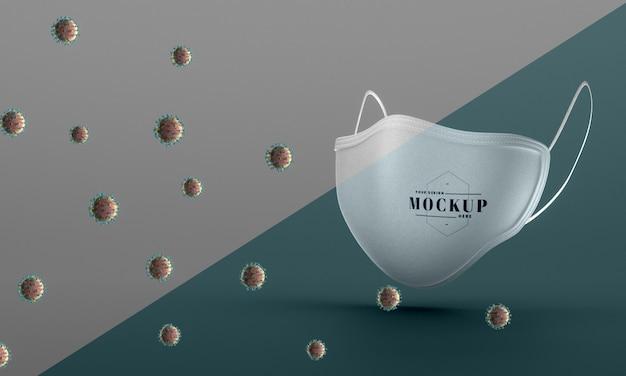 Vista frontal da máscara facial de mock-up para proteção contra vírus Psd grátis