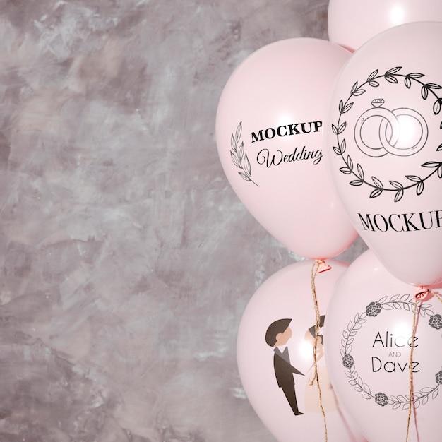 Vista frontal da simulação de balões de casamento com espaço de cópia Psd grátis
