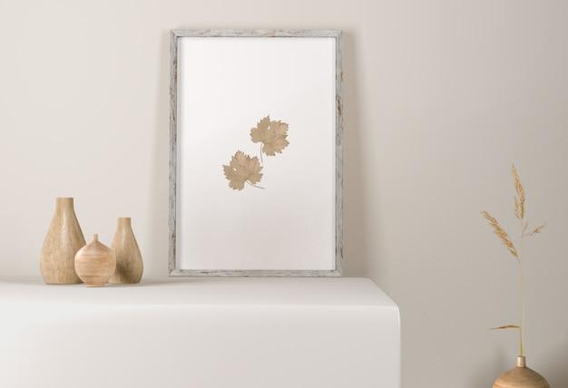 Vista frontal do quadro com vasos na superfície Psd Premium