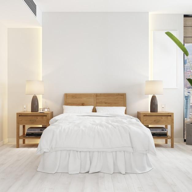 Vista frontal do quarto com uma cama e maquete de mesas de cabeceira de madeira moderna Psd grátis
