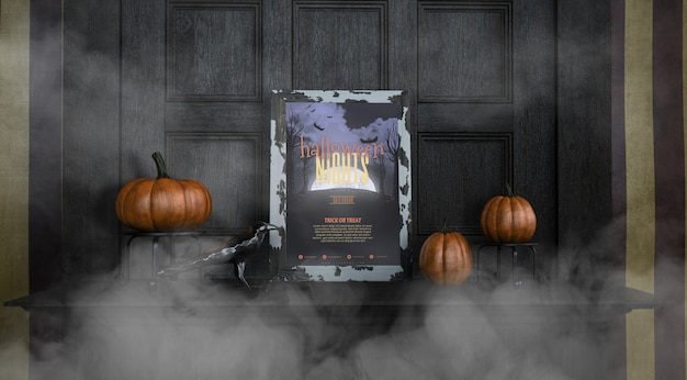 Vista frontal halloween noites quadro mock-up na névoa Psd grátis