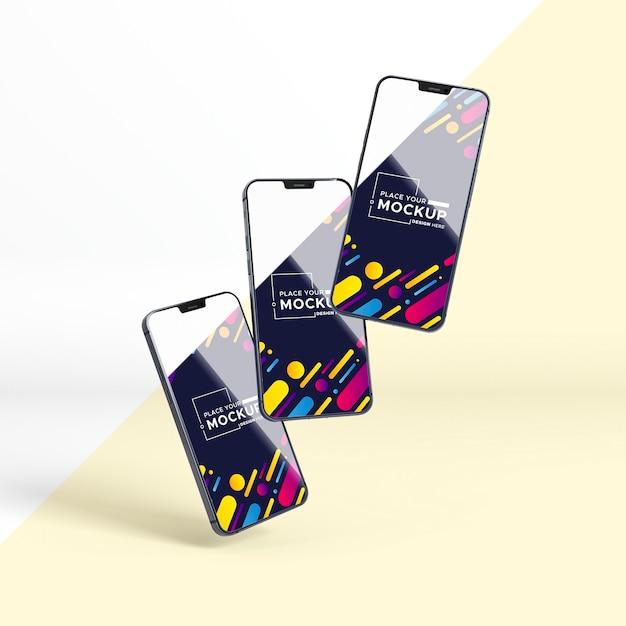 Vista frontal nova coleção de telefones Psd Premium