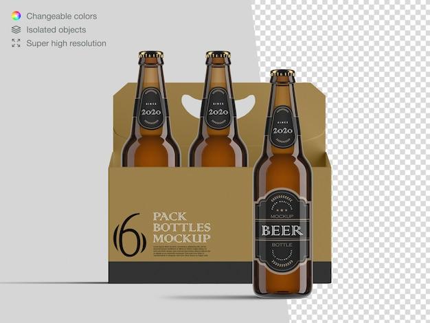Vista frontal realista modelo de maquete de garrafa de cerveja de seis pacotes Psd Premium