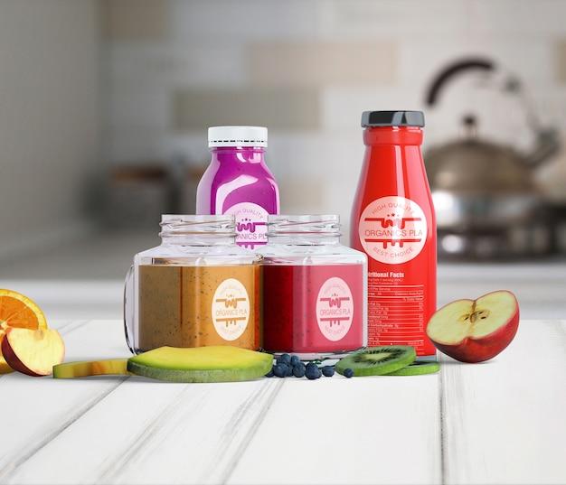 Vista frontal variedade de recipientes cheios de suco de frutas Psd grátis