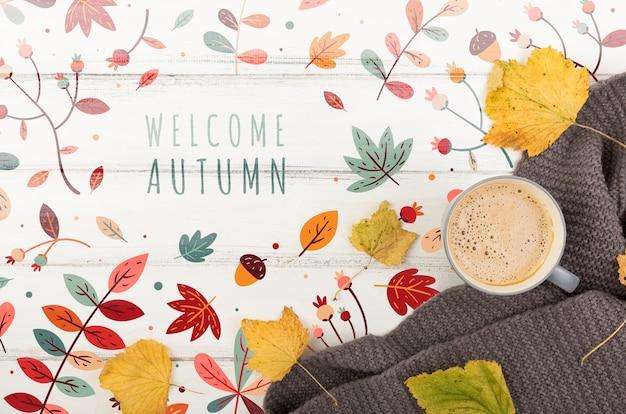 Vista para a temporada de outono com mensagem de boas-vindas Psd grátis