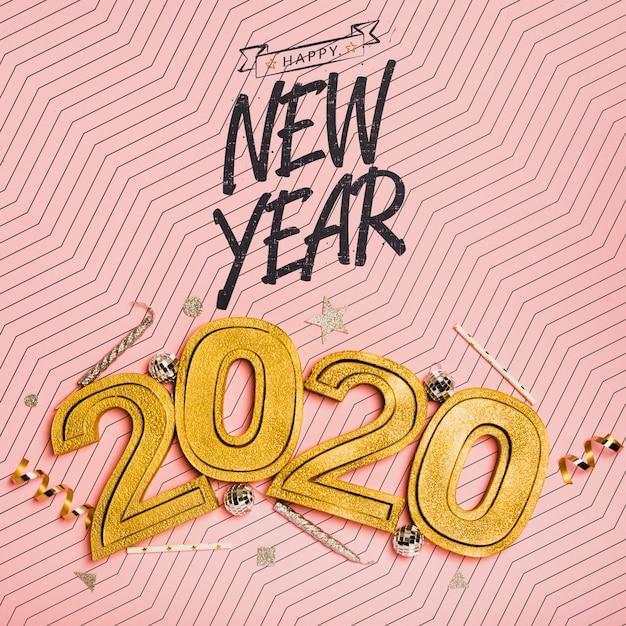 Vista superior ano novo letras minimalistas em fundo rosa Psd grátis