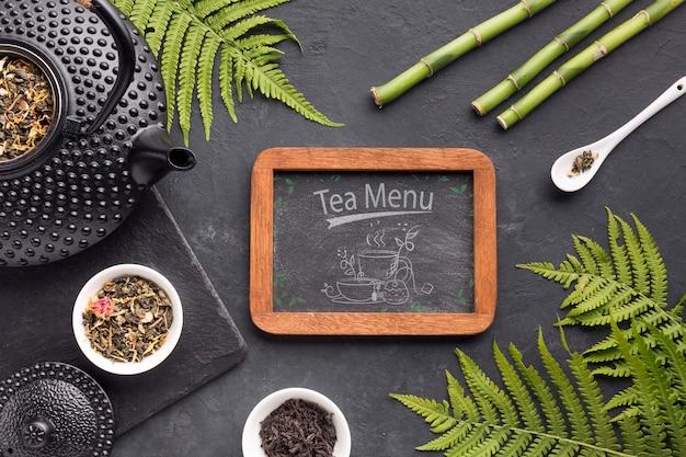 Vista superior chá menu quadro conceito Psd grátis