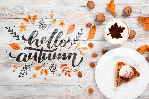 Vista superior conceito de pequeno-almoço de outono com torta Psd grátis