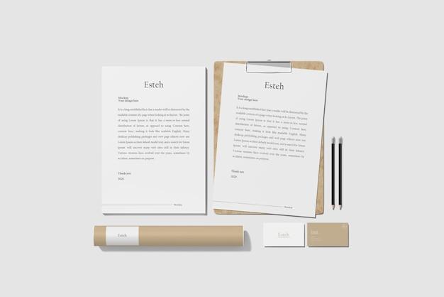 Vista superior da maquete de marca de papelaria Psd Premium