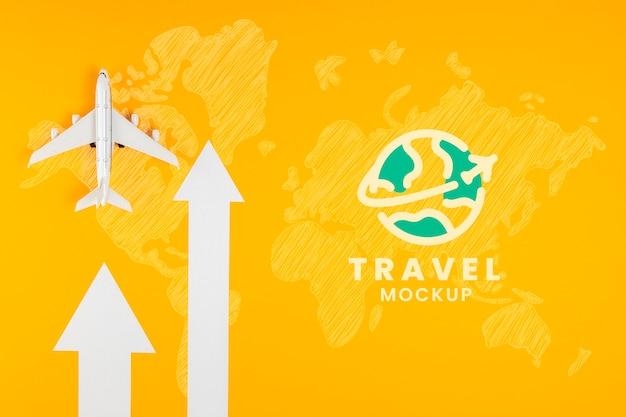 Vista superior da maquete do conceito de viagens Psd Premium