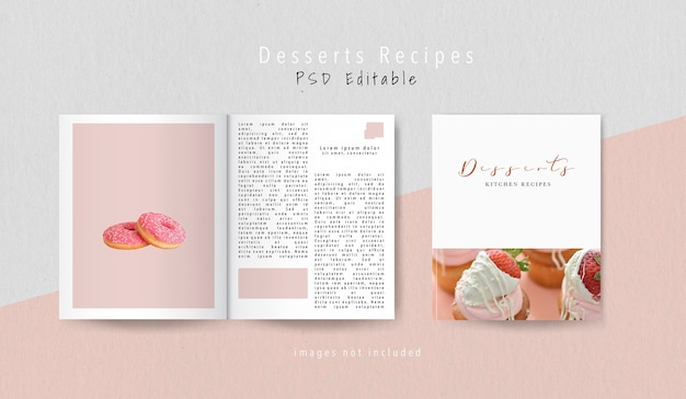 Vista superior da revista editorial de sobremesas Psd grátis