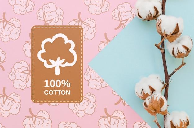 Vista superior de algodão natural com maquete Psd grátis