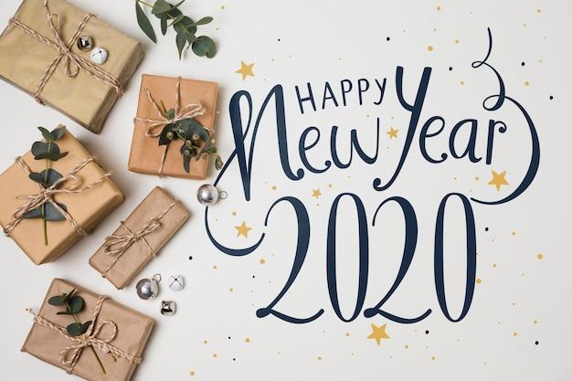 Vista superior do ano novo e presentes Psd grátis