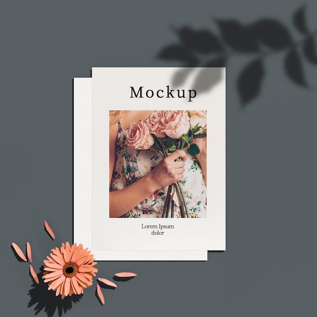Vista superior do cartão com folhas sombra e flor Psd grátis