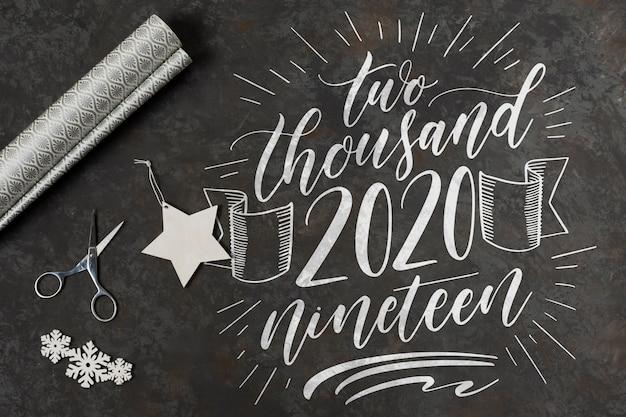 Vista superior do conceito de feliz ano novo Psd grátis