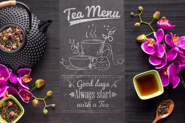 Vista superior do menu de chá com ervas e flores Psd grátis