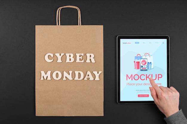 Vista superior do mock-up do conceito de cyber segunda-feira Psd grátis