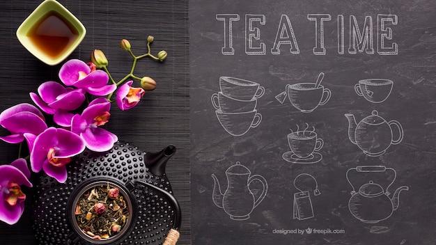 Vista superior, hora do chá com flores Psd grátis
