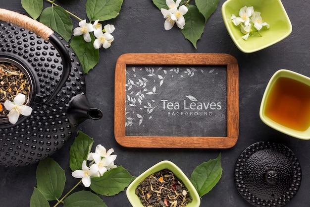 Vista superior hora do chá com o conceito de ervas Psd grátis
