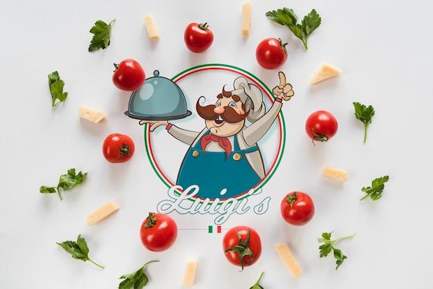 Vista superior italiana ingredientes alimentares com fundo branco Psd grátis