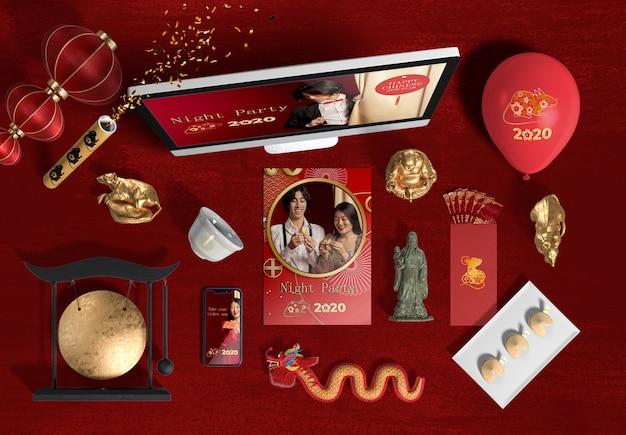 Vista superior laptop e acessórios para o ano novo chinês Psd grátis