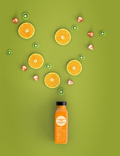 Vista superior laranja smoothie mock-up Psd grátis