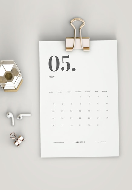Vista superior minimalista mockup calendário de transferência Psd grátis