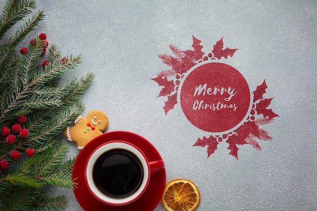 Vista superior xícara de café com aquarela feliz natal design Psd grátis