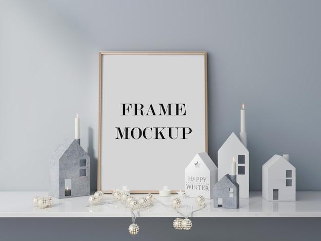 Visualização 3d da maquete do frame do feriado de inverno Psd Premium