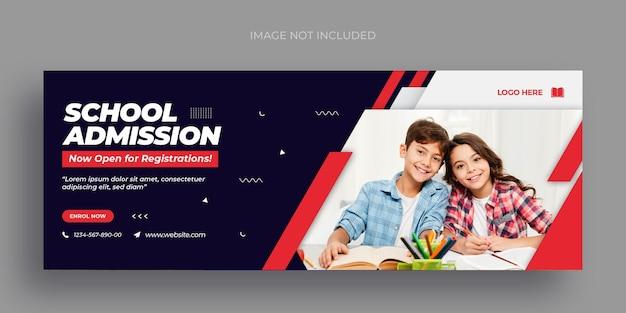 Volta às aulas em mídia social banner na web e modelo de design de foto de capa do facebook Psd Premium