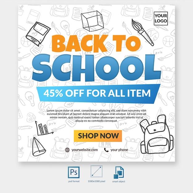 Volta para oferta especial de venda de escola com o elemento de mídia social postar modelo Psd Premium