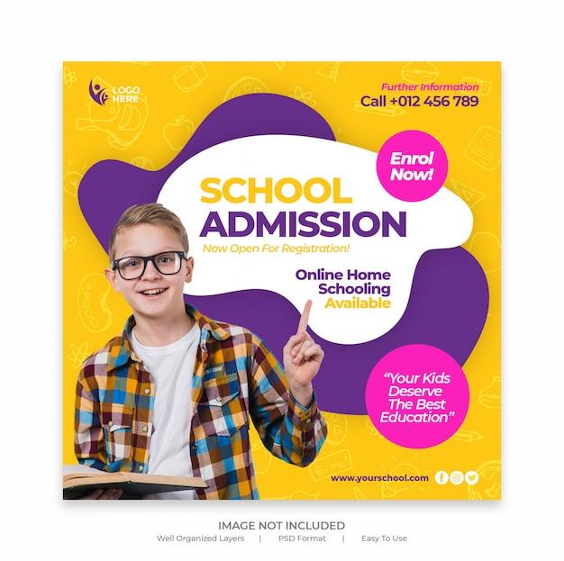 Voltar para a admissão escolar, marketing de mídia social postar ou modelo de banner Psd Premium