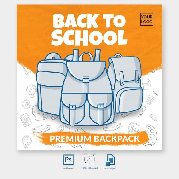 Voltar para mochila escolar oferecer modelo de postagem de mídia social Psd Premium