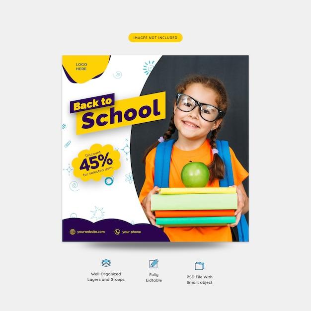 Voltar para o modelo de postagem de mídia social de promoção especial de desconto de escola Psd Premium