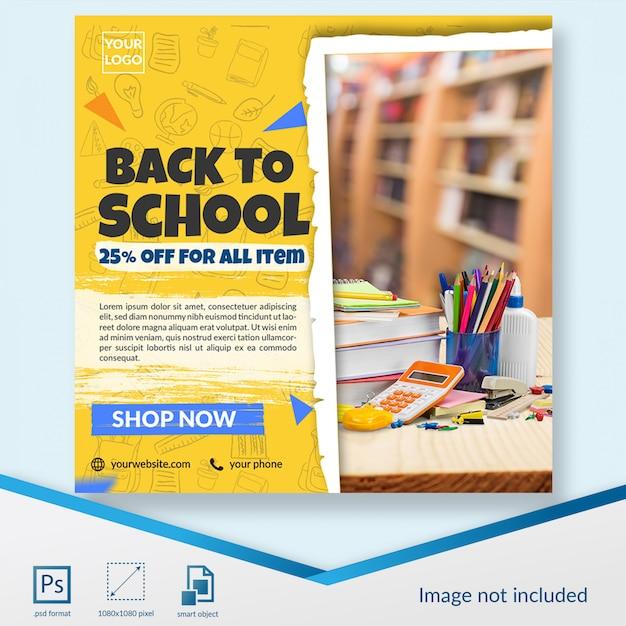 Voltar para papelaria de desconto de escola oferecer modelo de postagem de mídia social Psd Premium