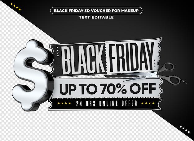 Voucher 3d da black friday para maquiagem Psd Premium