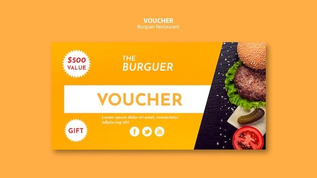 Voucher de hambúrguer delicioso fast-food Psd grátis