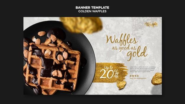 Waffles dourados com banner de chocolate e nozes Psd grátis