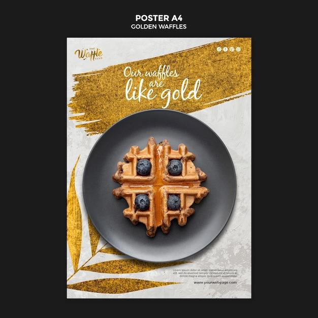 Waffles dourados com pôster de mirtilos Psd grátis
