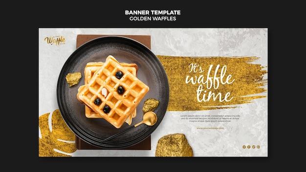 Waffles dourados no modelo de banner de placa Psd grátis