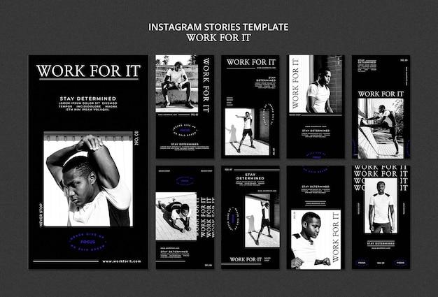 Workout for it modelo de histórias de mídia social Psd grátis