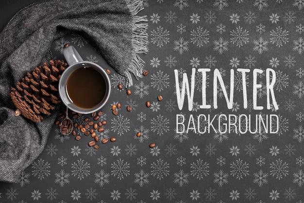 Xícara de café sobre fundo de inverno Psd grátis