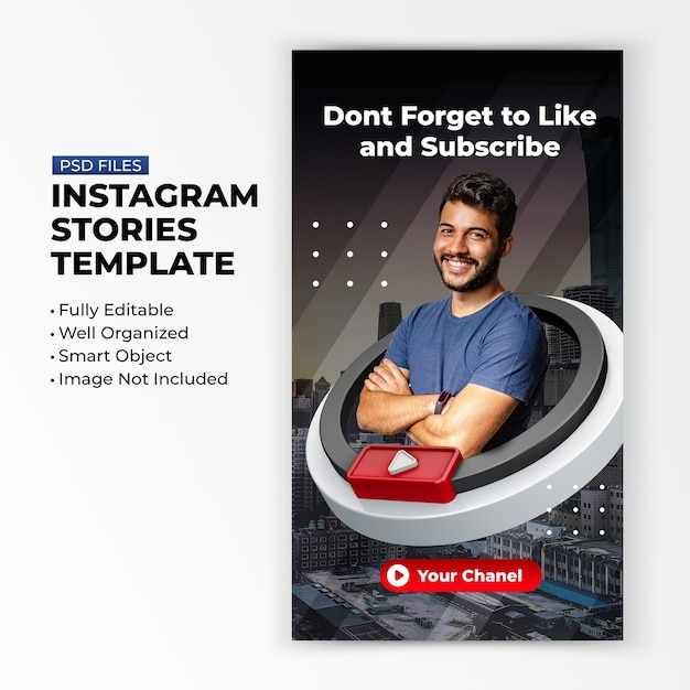 Youtube curtir e inscrever-se na promoção para modelo de postagem de histórias em mídias sociais no instagram Psd Premium