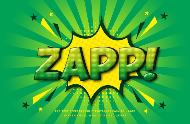 Zap comic speech 3d text style effect Psd Premium