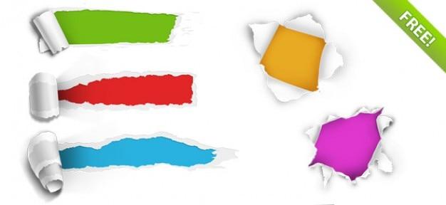 5 Trous papier déchiré Psd gratuit