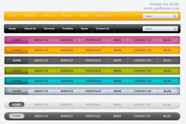 ainsi que barre de menu web psd pour une partie t u00e9l u00e9chargement gratuit