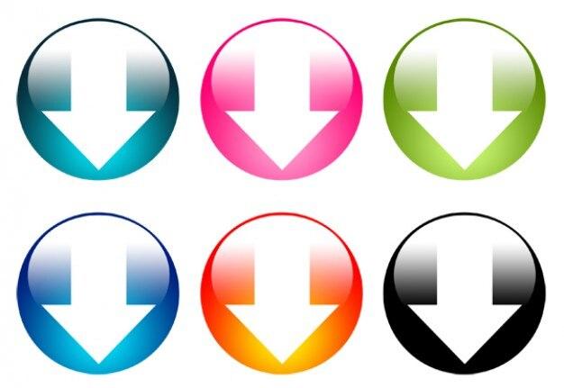 ensemble de boutons de t u00e9l u00e9chargement color u00e9es psd