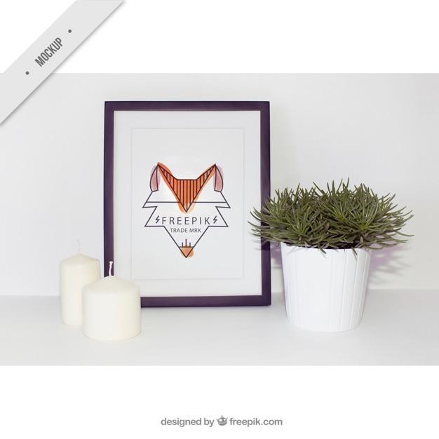 image cadre moderne avec des bougies et flowerpot t l charger psd gratuitement. Black Bedroom Furniture Sets. Home Design Ideas